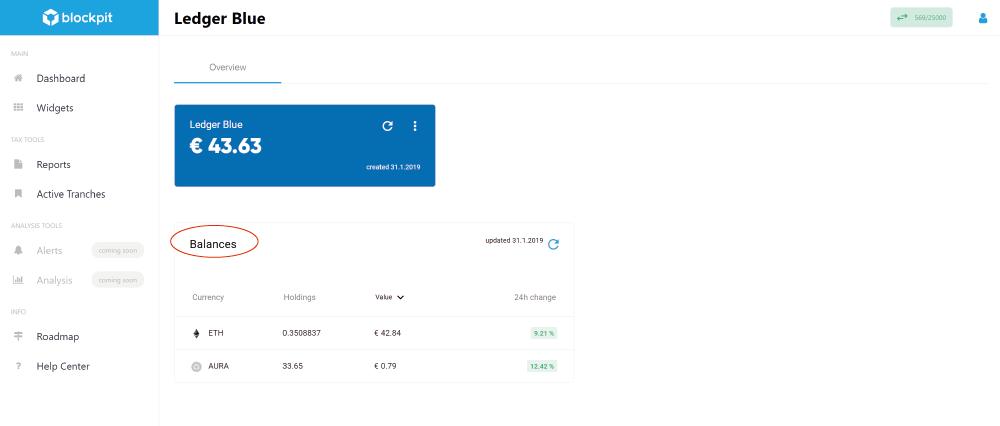 "Overview ""Balances"" in Blockpit platform"