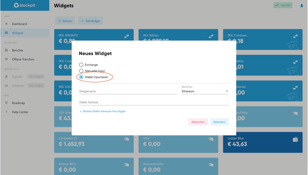 "Anlegen ""Neues Widget"" in der Blockpit Plattform"