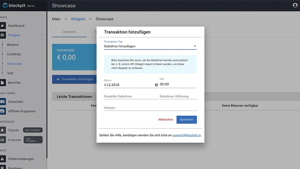 Gebühren eintragen in der Blockpit-App