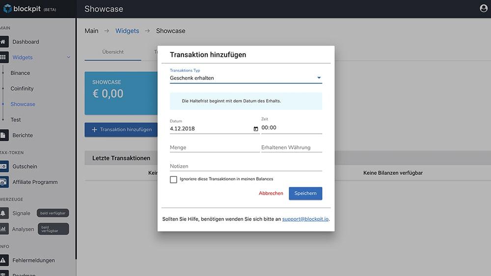 Geschenk eintragen in der Blockpit-App