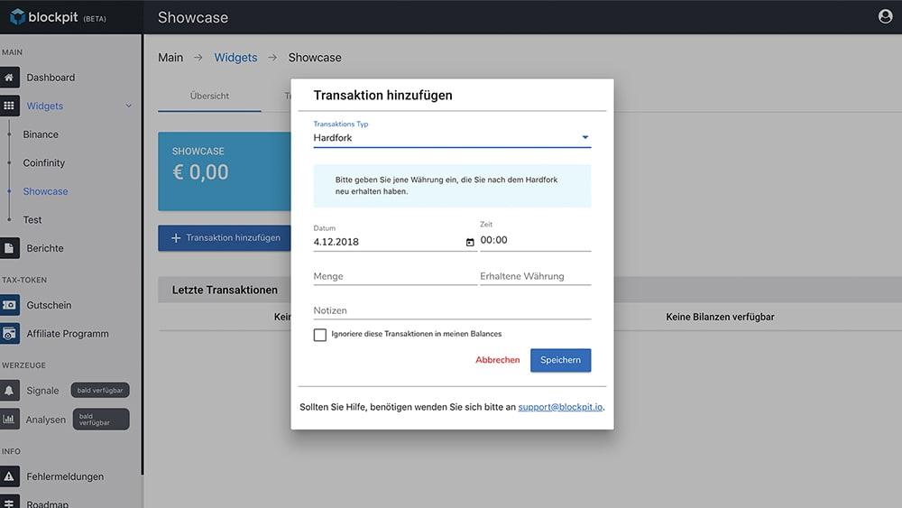 Hardfork eintragen in der Blockpit-App