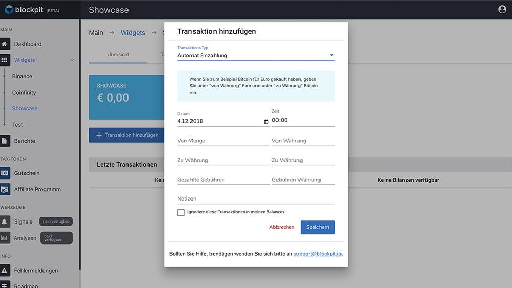 Vorgang am Bitcoin-Automaten eintragen in der Blockpit-App