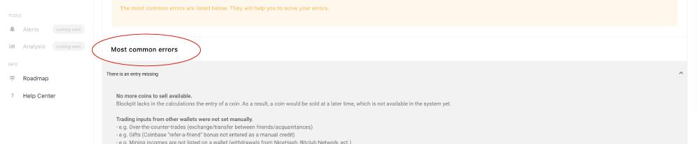 Blockpit Platform - errorhandling