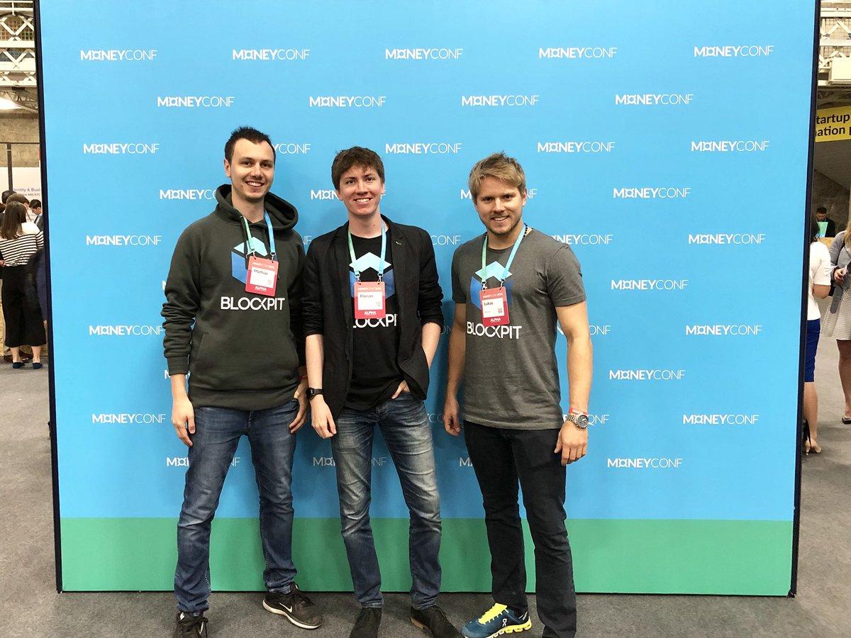 Blockpits CTO Mathias, CEO Florian und CMO Lukas bei der MoneyConf 2018  in Dublin