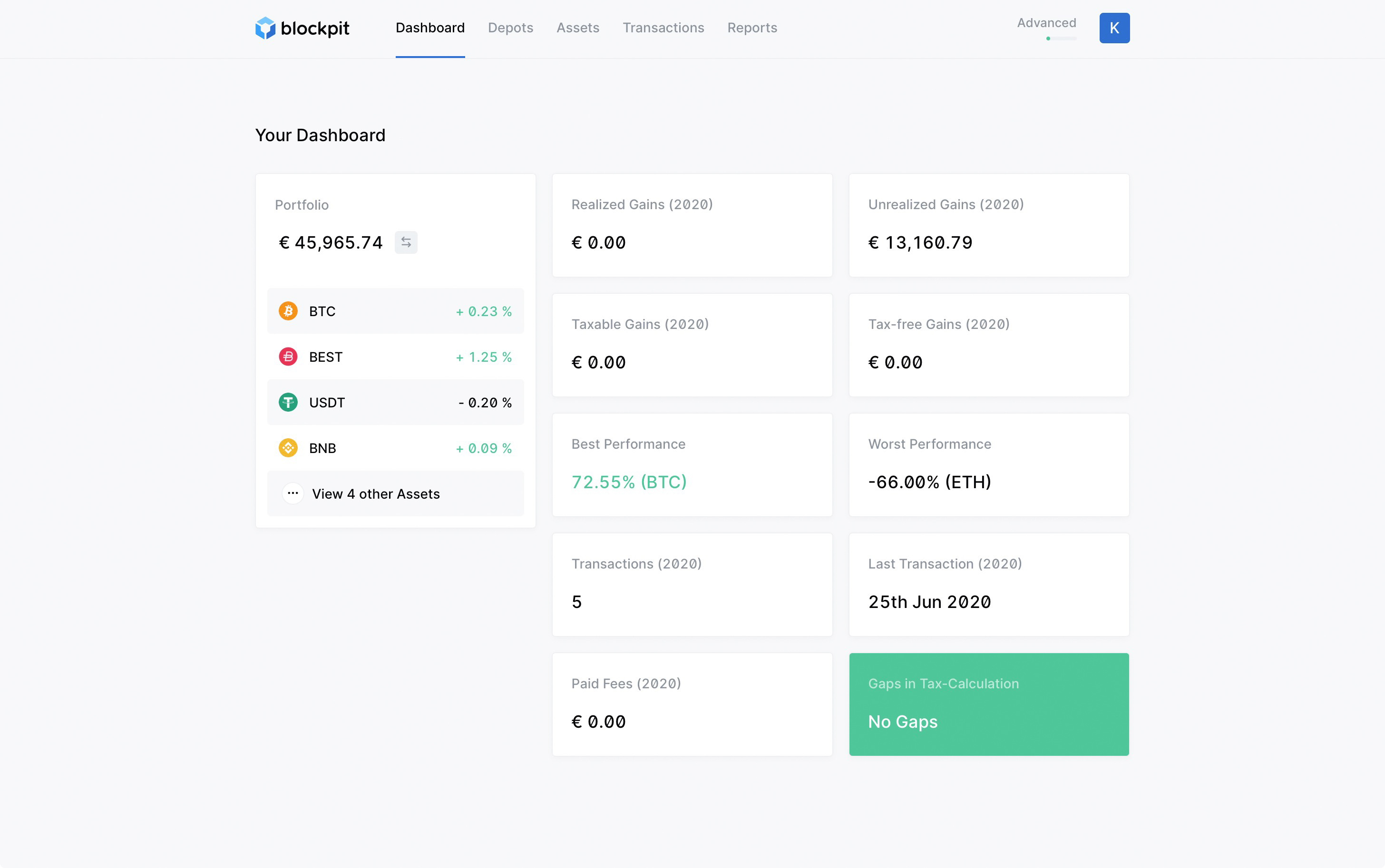 Blockpit-tax calculation and portfolio tracking