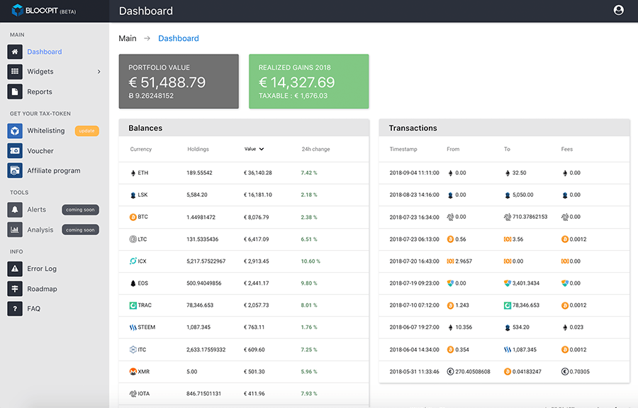 Dashboard Blockpit.io