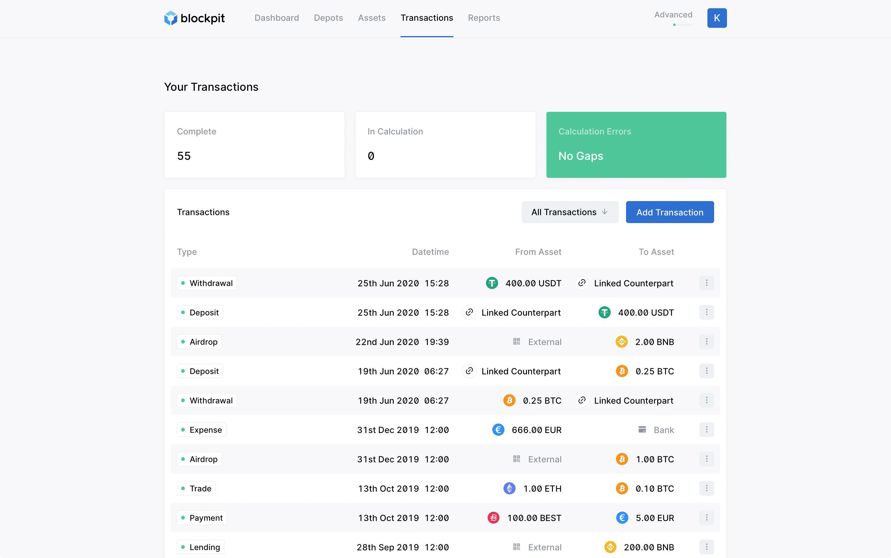 Exchangewidgets Blockpit.io